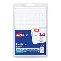 Avery Removable InkjetLaser Multipurpose Labels 5412