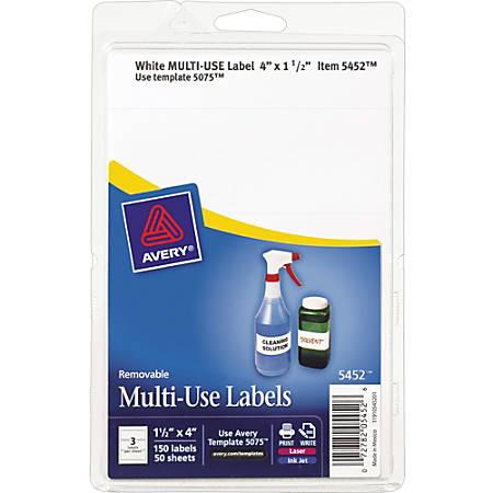 "Avery® Removable Inkjet/Laser Multipurpose Labels, 5452, 1 1/2"" x 4"", White, Pack Of 150"