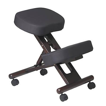 Office Star® Work Smart Ergonomic Knee Chair, Black/Espresso