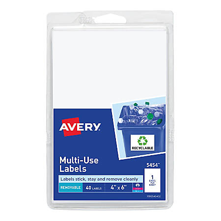 avery removable inkjetlaser multipurpose labels 5454 4 x 6 white