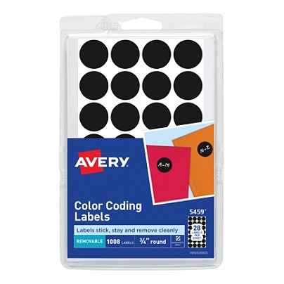 avery removable round color coding labels 5459 34 diameter black