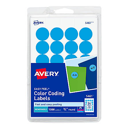 "Avery® Removable Round Color-Coding Labels, 5461, 3/4"" Diameter, Light Blue, Pack Of 1,008"