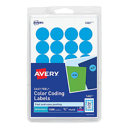 """Avery® Removable Round Color-Coding Labels, 5461, 3/4"""" Diameter, Light Blue, Pack Of 1,008"""