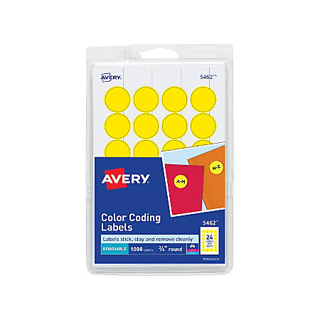 """Avery® Removable Round Color-Coding Labels, 5462, 3/4"""" Diameter, Yellow, Pack Of 1,008"""