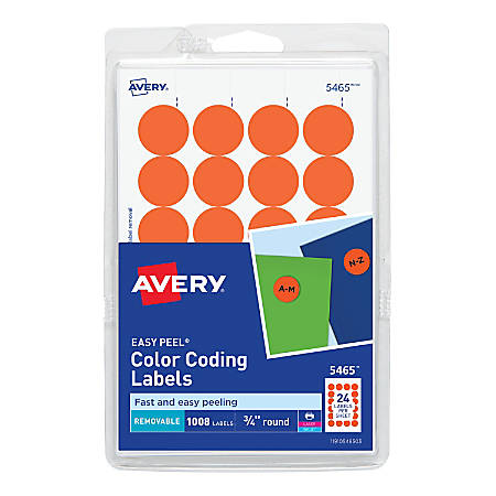 """Avery® Removable Round Color-Coding Labels, 5465, 3/4"""" Diameter, Orange, Pack Of 1,008"""