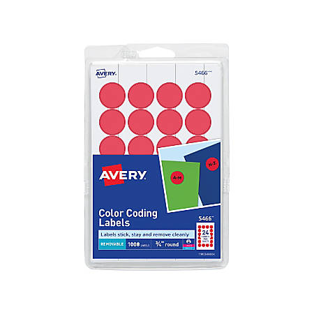 """Avery® Removable Round Color-Coding Labels, 5466, 3/4"""" Diameter, Red, Pack Of 1,008"""