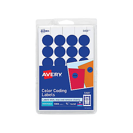 """Avery® Removable Round Color-Coding Labels, 5469, 3/4"""" Diameter, Dark Blue, Pack Of 1,008"""