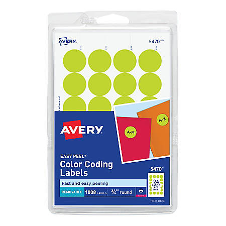 "Avery® Removable Round Color-Coding Labels, 5470, 3/4"" Diameter, Yellow Glow, Pack Of 1,008"