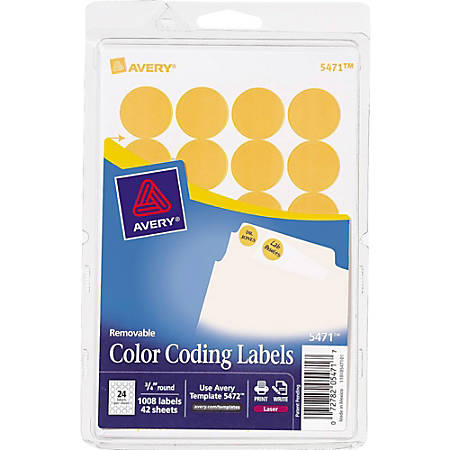 "Avery® Removable Round Color-Coding Labels, 5471, 3/4"" Diameter, Orange Glow, Pack Of 1,008"