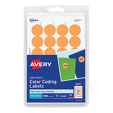 """Avery® Removable Round Color-Coding Labels, 5471, 3/4"""" Diameter, Orange Glow, Pack Of 1,008"""