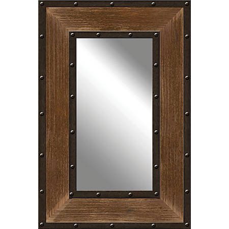 """PTM Images Framed Mirror, Metal And Wood, 30""""H x 20""""W, Natural Brown"""