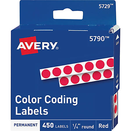 """Avery® Permanent Round Color-Coding Labels, 5790, 1/4"""" Diameter, Red, Pack Of 450"""
