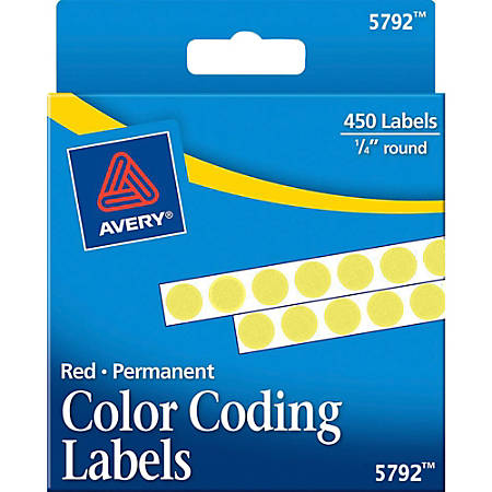 Avery® Permanent Round Color-Coding Labels, 5792, 1/4