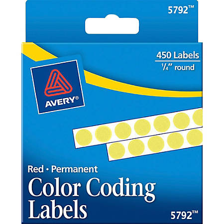 """Avery® Permanent Round Color-Coding Labels, 5792, 1/4"""" Diameter, Yellow, Pack Of 450"""