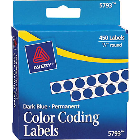 "Avery® Permanent Round Color-Coding Labels, 5793, 1/4"" Diameter, Dark Blue, Pack Of 450"