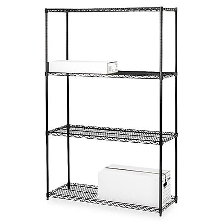 "Lorell® Industrial Wire Shelving Starter Unit, 36""W x 18""D, Black"