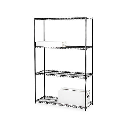 "Lorell® Industrial Wire Shelving Starter Unit, 48""W x 18""D, Black"