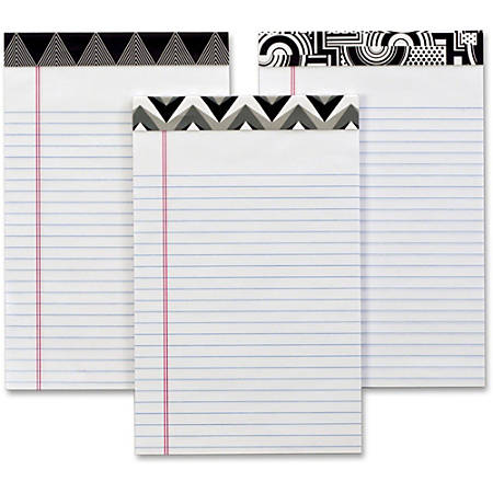 "TOPS Fashion Writing Pads - 50 Sheets - Double Stitched - Ruled Red Margin - 15 lb Basis Weight - 5"" x 8"" - 1.1"" x 8""5"" - White Paper - Black/White Binder - Perforated, Acid-free, Unpunched, Chipboard Backing - 6 / Pack"
