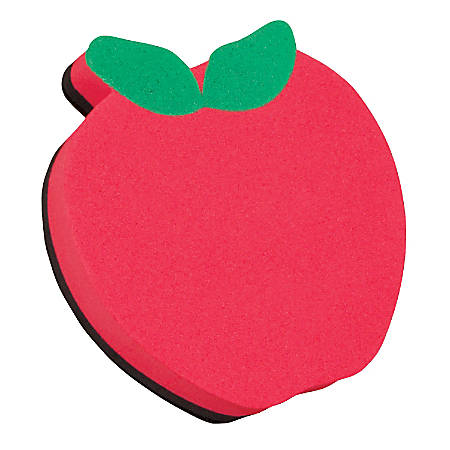 """Ashley Productions Magnetic Whiteboard Erasers, 3 3/4"""", Apple, Pack Of 6"""