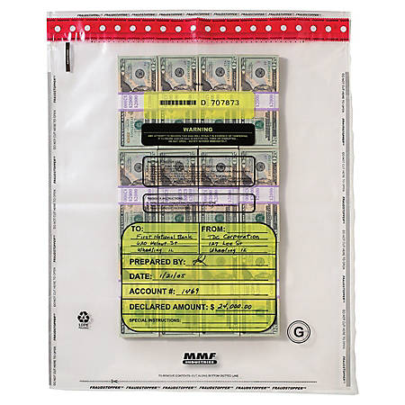 """MMF Industries Tamper-Evident Bundle Bags, 16 Capacity, Self-Seal Adhesive, 20"""" x 28"""", Clear, Box Of 100"""