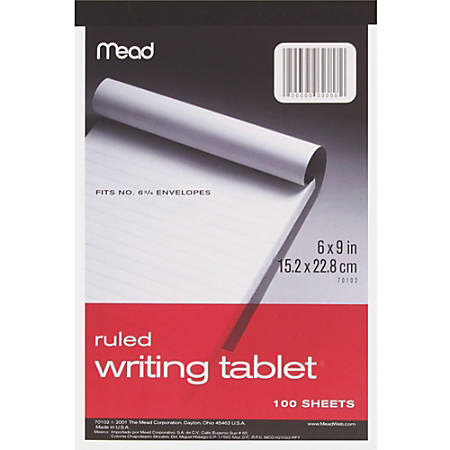 """Mead Plain Writing Tablet - 100 Sheets - 20 lb Basis Weight - 6"""" x 9"""" - White Paper - 1Each"""