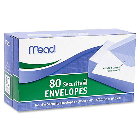 """Mead White Security Envelopes - Security - #6 3/4 - 6 1/2"""" Width x 3 5/8"""" Length - 20 lb - Gummed - Wove - 80 / Box - White"""