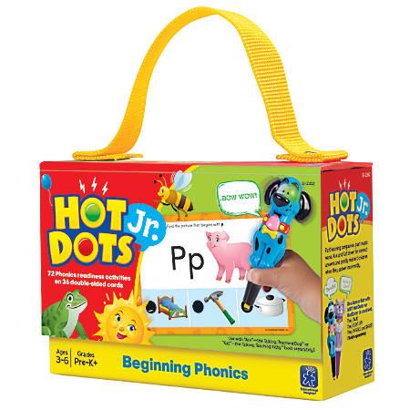 "Educational Insights® Hot Dots® Jr. Beginning Phonics Card Set, 6 1/2"" x 4 1/2"", Pre- K - Grade 2"