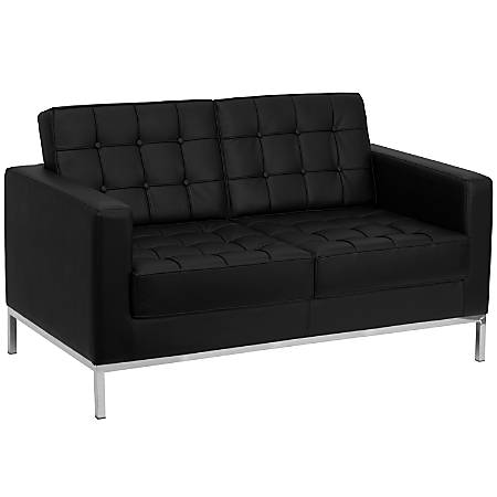 Flash Furniture HERCULES Lacey Series Contemporary Leather Loveseat, Black/Stainless Steel