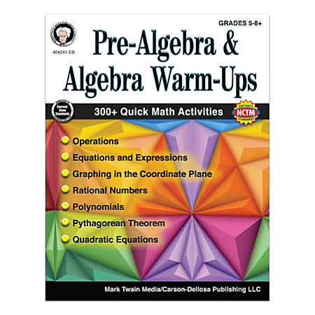 Mark Twain Media Pre-Algebra And Algebra Warm-Ups Workbook, Grades 5 - 12