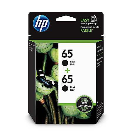 HP 65 Black Ink Cartridges (1VU22AN#140), Pack Of 2