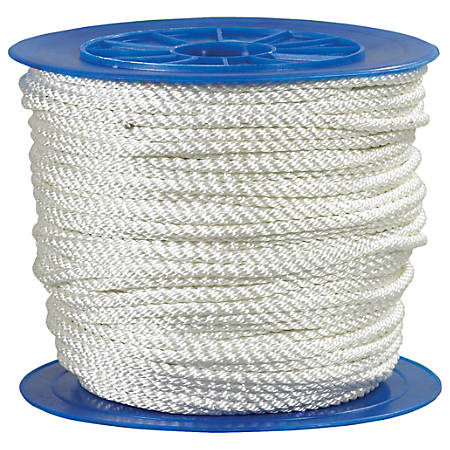 """Office Depot® Brand Twisted Nylon Rope, 1,480 Lb, 1/4"""" x 600', White"""