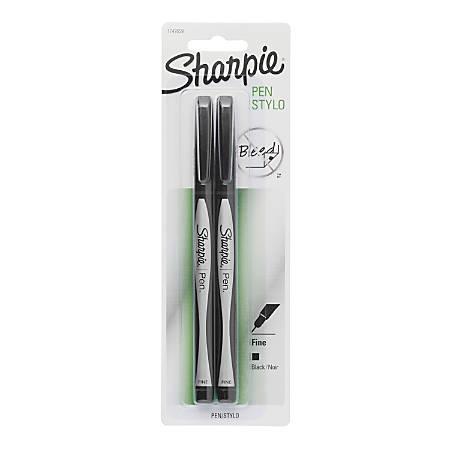 Sharpie® Fine-Point Pens, Fine Point, 0.8 mm, Black Barrels, Black Ink, Pack Of 2