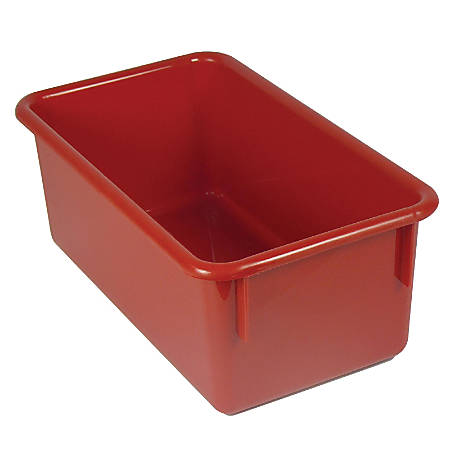 """Stowaway® Storage Container, No Lid, 5 1/2""""H x 8""""W x 13 1/2""""D, Red, Pack Of 5"""