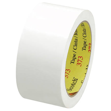 "Scotch® 373 Carton-Sealing Tape, 3"" Core, 2"" x 55 Yd., White, Pack Of 6"