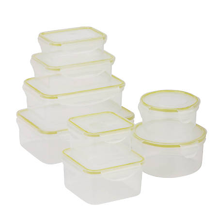 Honey-Can-Do 16-Piece Locking Food Container Set, 0.3 - 1.6 Qt, Clear