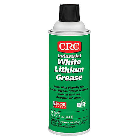 CRC NLGI Grade 2 Lithium Grease, 16 Oz Aerosol Cans, White, Pack Of 12 Cans