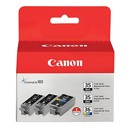 Canon PGI-35/CLI-36 Black/Multicolor Ink Cartridges (1509B007), Pack Of 3 (2 Black & 1 Color)
