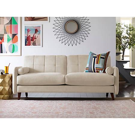 Elle Décor Natalie Mid-Century Modern Sofa, Beige/Chestnut