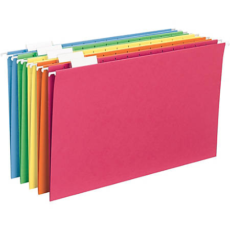 Smead® Hanging File Folders, 1/5-Cut, Legal Size, Brights, Pack Of 25 Item  # 115423