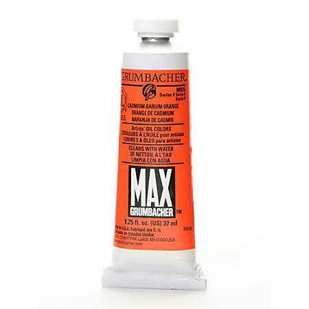 Grumbacher Max Water Miscible Oil Colors, 1.25 Oz, Cadmium Barium Orange