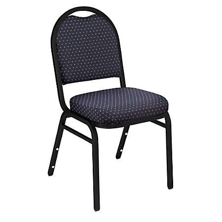 National Public Seating Dome-Back Stacking Chairs, Fabric, Diamond Navy/Black, Set Of 2