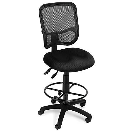 OFM Mesh Comfort Series Fabric Ergonomic Task Chair With Drafting Kit, Black/Black