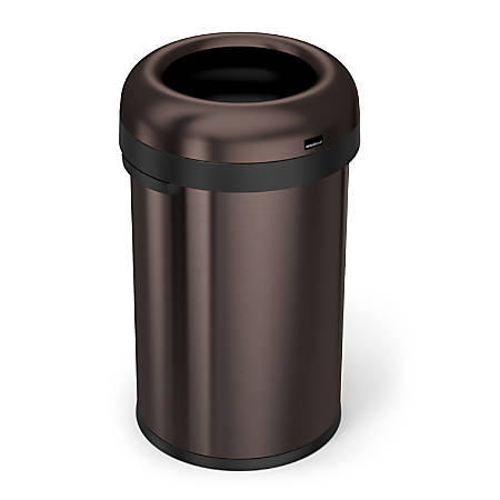 simplehuman® Bullet Open Trash Can, 21 Gallons, Dark Bronze Steel