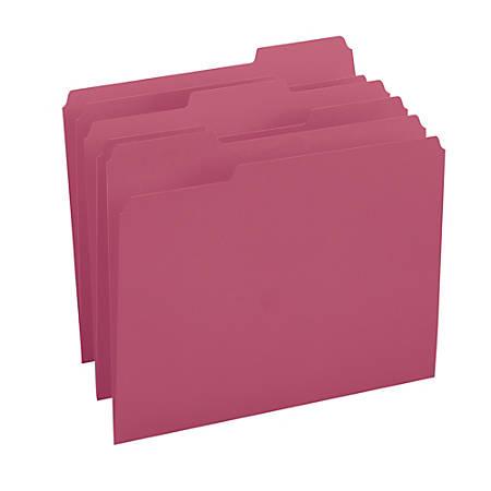 Smead® Color File Folders, Letter Size, 1/3 Cut, Maroon, Box Of 100