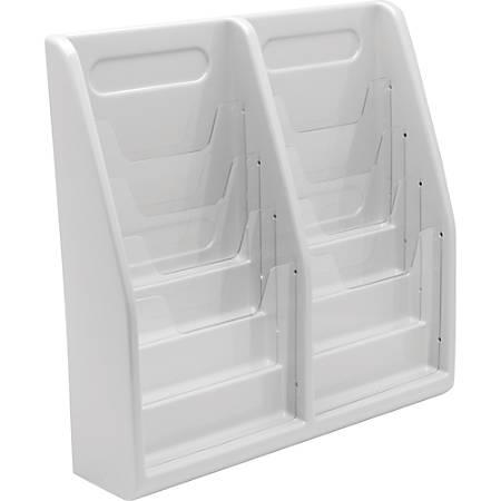 "Deflecto Multi-Compartment Literature Display - 8 Pocket(s) - 19.8"" Height x 20.3"" Width x 5"" Depth - Desktop, Wall Mountable - Gray - Plastic - 1 / Each"