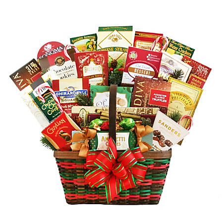 """Givens Gifting Season's Greetings Merrymaker Gift Basket, 16""""H X 10""""W X 16""""D, Red/Green"""