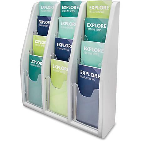 "deflecto Countertop/Wall Mount Literature Display - 12 Pocket(s) - 19.8"" Height x 15.8"" Width x 5"" Depth - Desktop, Wall Mountable - Gray - Plastic - 1Each"