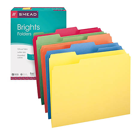 Smead® Color File Folders, Letter Size, 1/3 Cut, Brights, Box Of 100