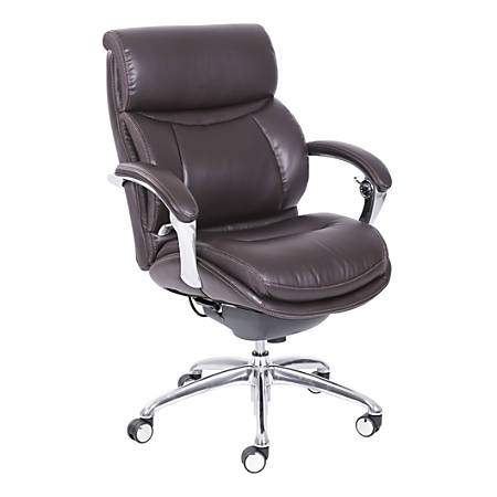 Serta® iComfort i5000 Bonded Leather Managerial Mid-Back Chair, Chocolate/Silver