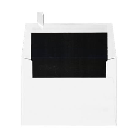 """LUX Invitation Envelopes With Peel & Press Closure, A6, 4 3/4"""" x 6 1/2"""", Black/White, Pack Of 50"""